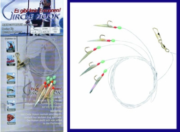 10 Stück Heringspaternoster Heringsvorfach 5 Circle Hook #8