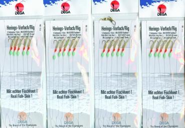 4 Stück DEGA Heringsvorfach echte Fischh. 5 Haken #4 + Leuchtperlen